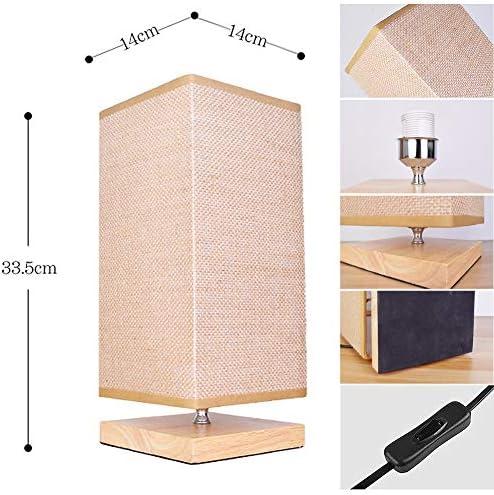GYCC Lámpara de mesilla de Noche Base de Madera Pantallas de Tela Lámpara de Escritorio Sala de Estar Oficina Niños Dormitorio Minimalismo: Amazon.es: Hogar