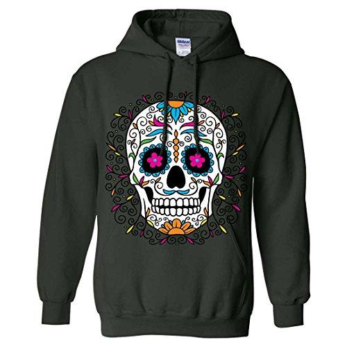 (Dia De Los Muertos Pastel Sugar Skull Sweatshirt Hoodie - Forest Green)