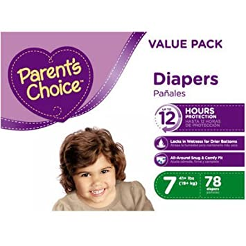 Branded Parents Choice Diapers, Size 7, 78 Diapers , Weight 41lbs - Branded Diapers