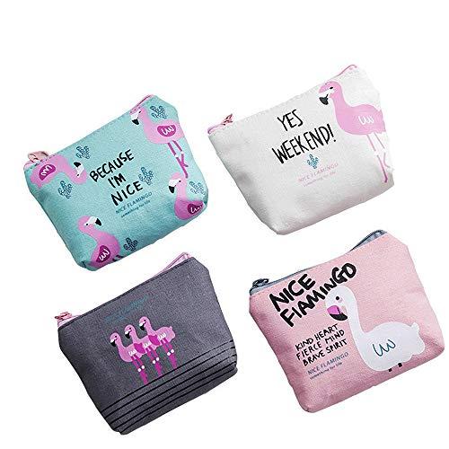 YSMYWM 4Pcs Girls Cute Flamingo Canvas Pattern Sanitary Holder Napkin Tampon Pouch Key Bags Zipper Coin Purse