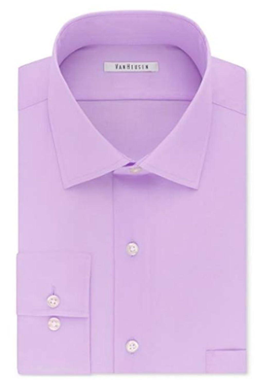 Van Heusen Hommes's Flex Collar Regular Fit Solid Spread Collar Robe Shirt, Soft violetc, 16  Neck 36 -37  Sleeve