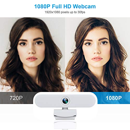 New Upgraded Webcam with Dual Microphone, USB Computer 1080P HD Streaming Web Camera 360°Rotatable for Desktop Laptop PC Mac with Flexible Rotatable Clip White