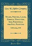Amazon / Forgotten Books: Tulips, Peonies, Lilies, Crocus, Hyacinths, Iris, Perennials for Fall Planting Fall Catalog, 1930 Classic Reprint (Geo H Mellen Company)