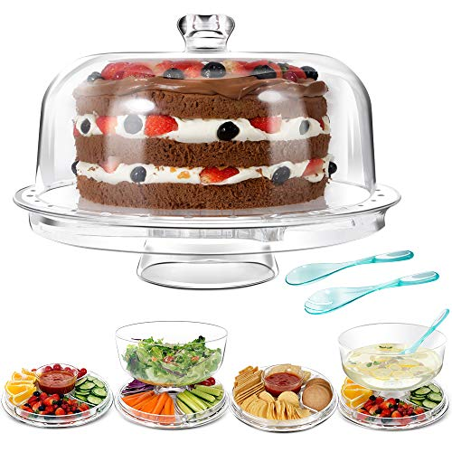 (Mastertop Big Size 6-in-1 Acrylic Plastic Cake Stand with Domed Cover and 2Pcs Spoons and Multifunction Desserts Salad Plate Bowl 12.6X6.6X12.6In)