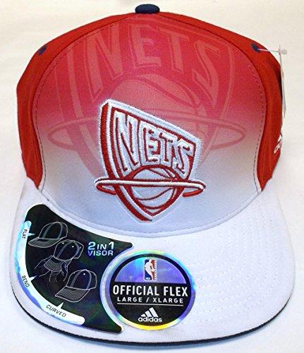Jersey Acrylic Nets New (adidas NBA New Jersey Nets 2 in 1 Visor Flex Hat - L/XL - TY30Z)