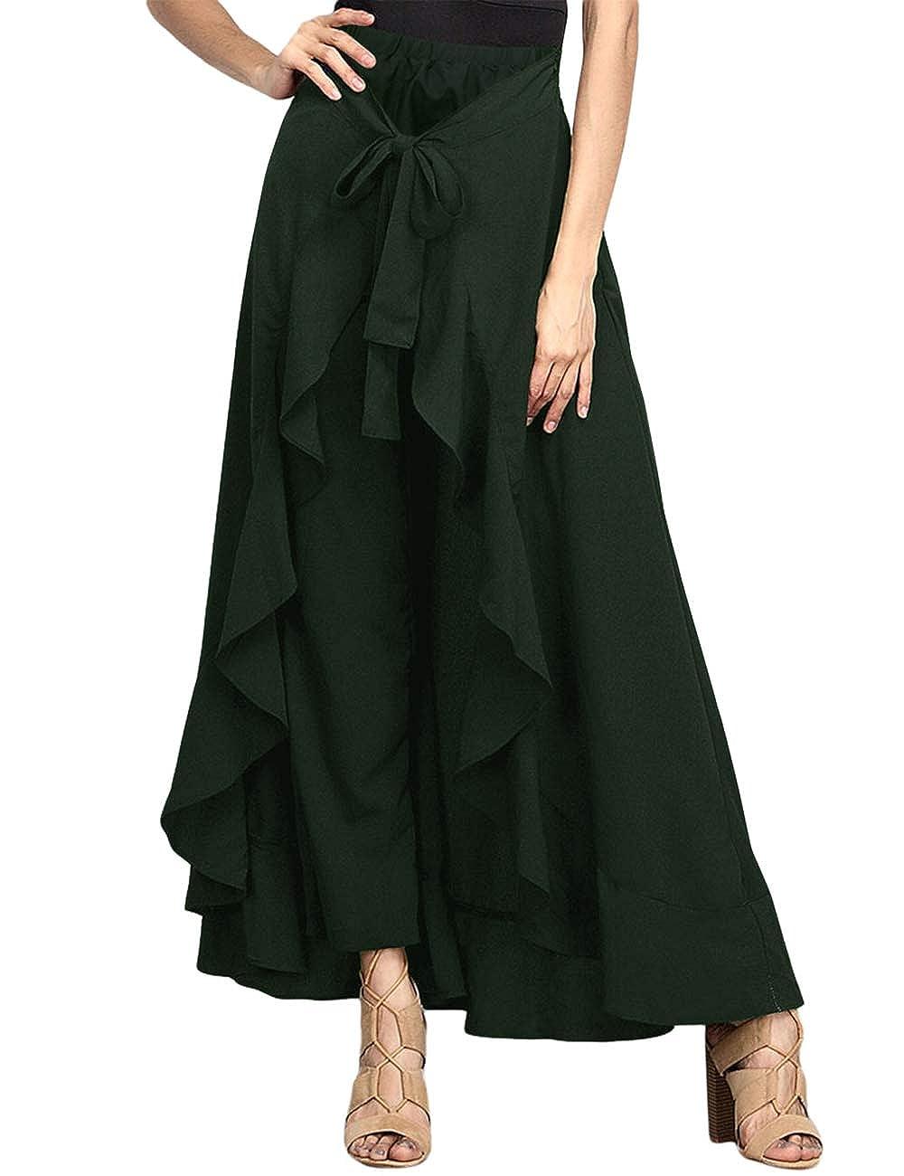 SEBOWEL Women's Ruffle Plain Wide Leg Split Tie-Waist Maxi Long Palazzo Overlay Pant Skirts