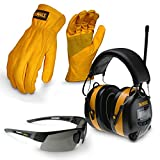 DEWALT X-Large Apparel Work Kit with Earmuff, Leather Gloves, and Safety Glass