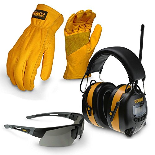 DEWALT X-Large Apparel Work Kit with Earmuff, Leather Gloves, and Safety Glass by DEWALT