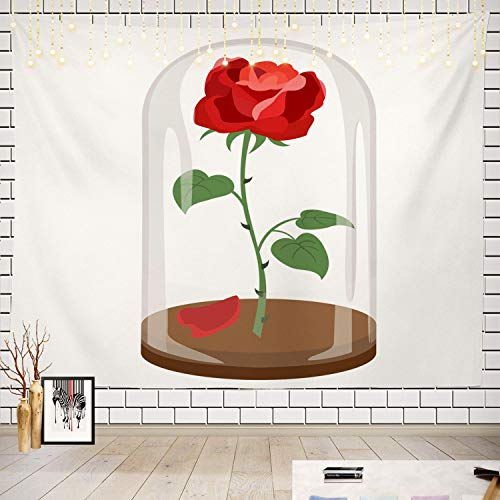 Batmerry Rose Tapestry, Beauty and The Beast Picnic Mat Beach Towel Wall Art Decoration for Bedroom Living Room Dorm ()
