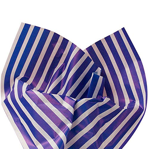 Awning Paper Blue (10ct. Royal Blue Awning Stripes on White Tissue Paper for Gift Wrapping 20