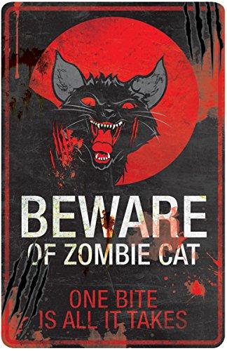 Halloween Sign Beware of Zombie Cat 11 x 17 in