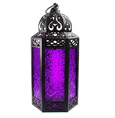 Large Moroccan Candle Lantern with Purple Glass -