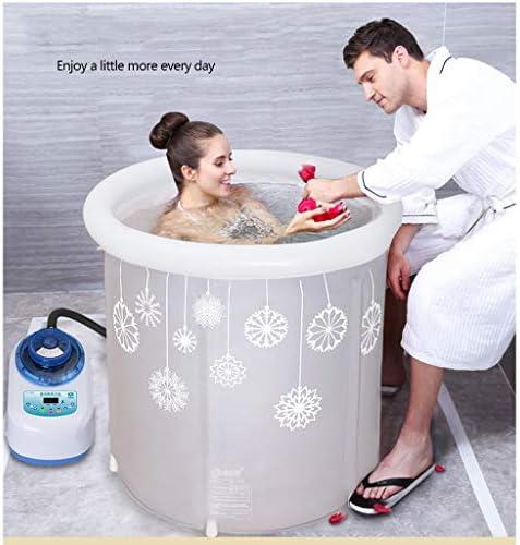 サーモスタットマッサージ風呂樽折りたたみインフレータブルバスタブ家庭用大人風呂樽大太い浴槽スパマッサージ (Color : GRAY, Size : 65*75CM)