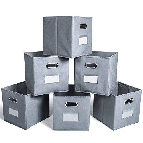 F-color Cube Storage Bins Collapsible Fabric Storage Baskets with Metal Handles and Label Holder for Nursery Home Bedroom Drawers Organizers, 6 Pack Grey