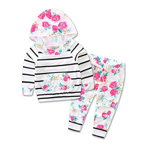 Baby Girls Floral Hoodie+ Floral Pant Set Leggings 2 Piece Outfits (12-18 Months, White)
