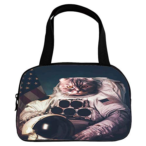 iPrint Strong Durability Small Handbag Pink,Space Cat,Vintage Image Astronaut Kitty with American Flag with Helmet Image,White Red and Dark Blue,for Students,3D Print -