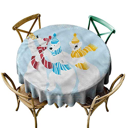familytaste Bear,Round Tablecloths Xmas at North Pole Funny D 60