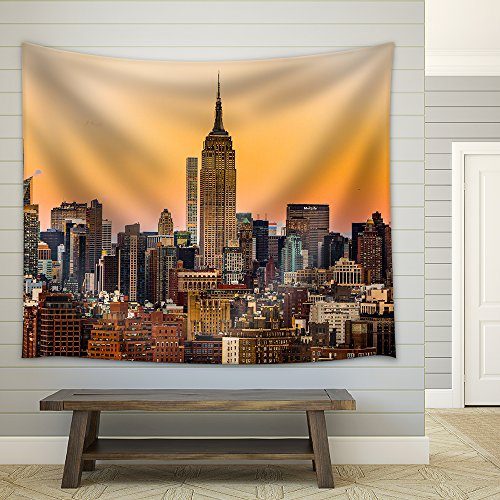 Landscape with Skyscraper at Dawn in New York City Fabric Wall