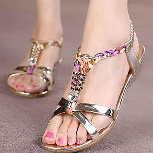Luckycat À Or Sandales 2018 Diamant Mode Plage Talons Plates Chaussures Hauts Été D'été Femme De Amazon Casual 11w0arq