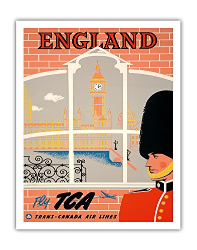(England - Queen's Guard, Big Ben, Parliament Building - Fly TCA (Trans-Canada Air Lines) - Vintage Airline Travel Poster by Jacques Le Flaguais c.1950s - Fine Art Print - 11in x 14in)