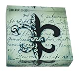 Value Arts French Unique Fleur de Lis Square Paperweight, 3 Inches Square
