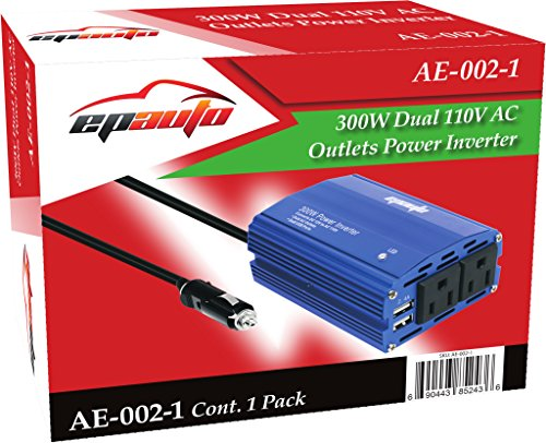 EPAuto 300W Car Power Inverter DC 12V To 110V AC Converter With Dual USB Charger