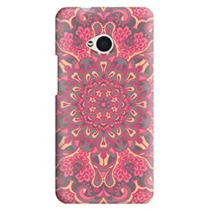 HTC ONE M7 Case,JIANSE Stylish Full Protective Slim Fit Durable Flexible Geometric Henna Arabesque Pink Mandala Floral Paisley Hard Back Cover Case Bumper for HTC ONE M7
