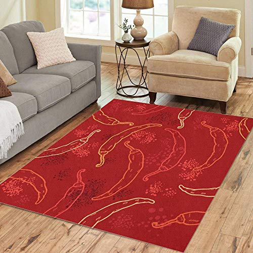 - Semtomn Area Rug 2' X 3' Green Spicy Red Chili Peppers Pattern Yellow Mexican Jalapeno Home Decor Collection Floor Rugs Carpet for Living Room Bedroom Dining Room