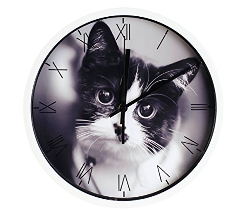 Luckly candy Cute Cat theme Background Super Silent Wall Clock Quiet Sweep Decorative Clocks (12Inch, White2)