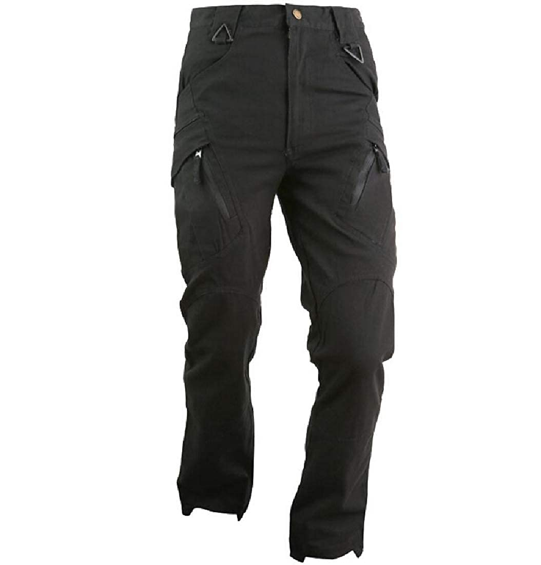 YUNY Mens Military Work Wear Loose Simple Outdoor Cargo Pants Black L