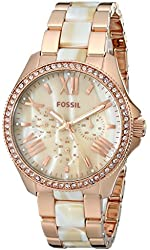 Fossil Women's AM4616 Cecile Three-Hand Stainless Steel Watch Rose with Horn Acetate