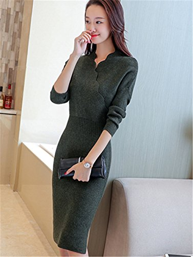 Blouse Pull Au et Hiver Robe Sweater Unie Femmes Mince Genou Manches Couleur Robe Vert Automne Haroty Longues Tricot Jumper TXx5qIwIcP