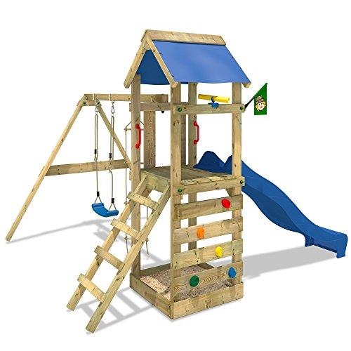 WICKEY FreeFlyer Spielturm Kletterturm mit Rutsche Schaukel Sandkasten + Zubehör-Komplettset (blaue Rutsche / blaue Dachplane)