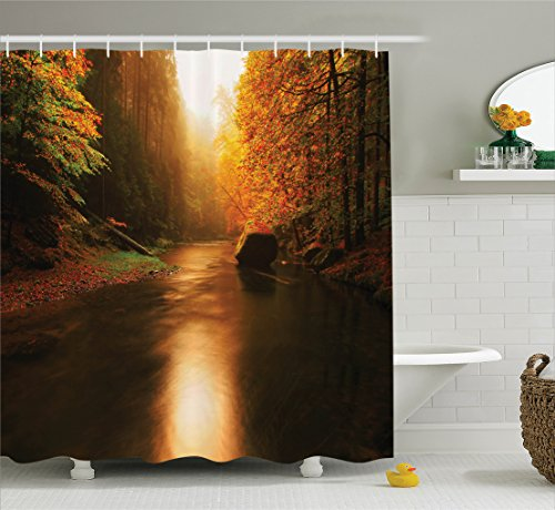 (Ambesonne Lake House Decor Collection, Calm Autumn Forest with Flowing River Sunlight Pine and Oak Trees Sunlight Branches, Polyester Fabric Bathroom Shower Curtain Set with Hooks, Multi)