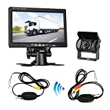 Wireless Backup Camera System with 4.3'' LCD Monitor Kit for Car/SUV/Truck/Pickup/Van/Camper 12V-24V Rear View Camera IP68 Waterproof 18 LED IR Lights Night Vision