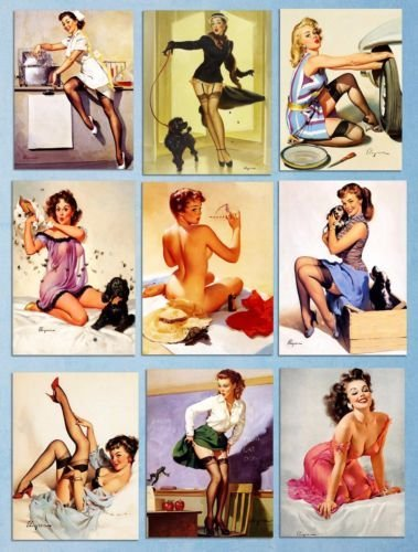 Metal Signs Plaques Retro Style Gil Elvgren Sexy Art Pin up Girls Tin 8x12 inch -
