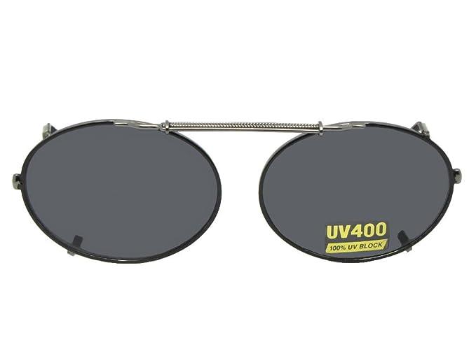 31d09b3b40 Oval Non Polarized Gray Lens Clip On Sunglasses (Black Frame-NON Polarized  Gray Lens