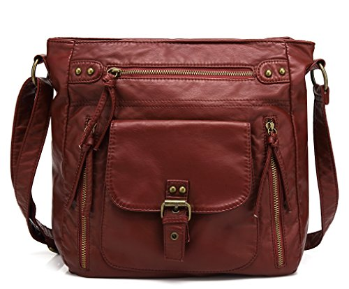 Scarleton Medium Crossbody Shoulder Bag for Women, Ultra Soft Washed Vegan Leather, Burgundy, H200520