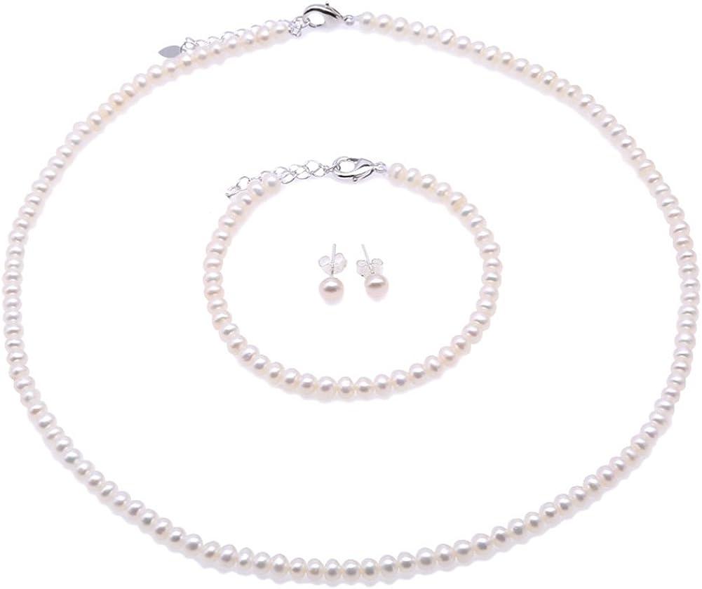 JYX Conjuntos de joyería de Perlas Tamaño pequeño 4.5-5.5mm Perla Blanca Collar Pendientes Pulsera Conjuntos