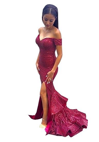 Topashe Womens Bling Sequins Off The Shoulder Split Mermaid Prom Dresses 6