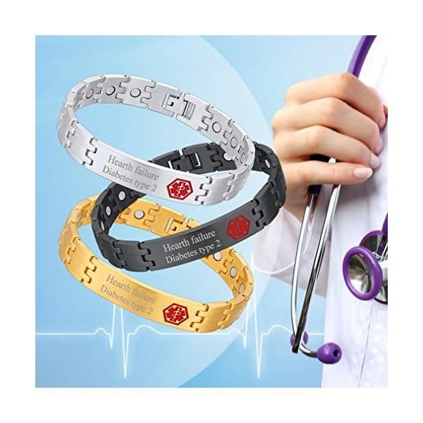 Custom4U Braccialetto di allerta medica, braccialetti Sos per uomo donna, braccialetti personalizzati per donna uomo… 2