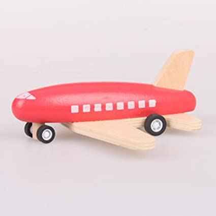 Leoie Toy Plane Children Wood Pull Back Plane Toys Mini Aircraft Model with Inertia as Xmas Gifts Red Body