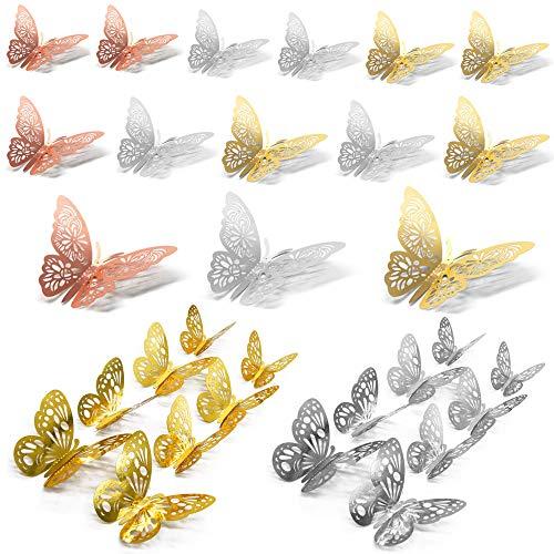 Anyasen 60 piezas Mariposa Decorativas 3D Pegatina de Pared de Adhesivos Paredes Decoración de Mariposas de Papel…