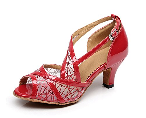 Tango Women's Wedding Latin Synthetic Salsa Mesh Sandals Red Kevin KQJ7075 Fashion g0xqnFR