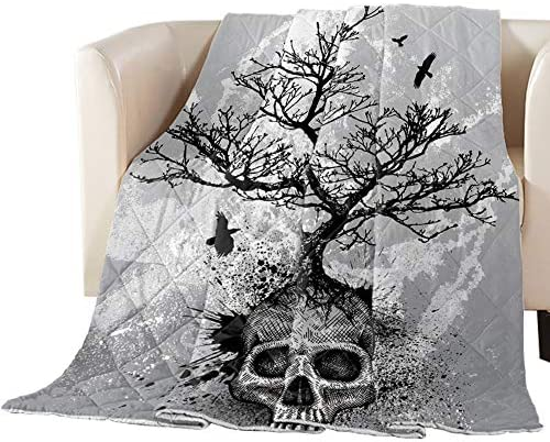 EZONCH Decoration Quilted Bedspread Coverlet Fashion for BedroomBlack and White Skull Head Tree Pattern Quilt Bedding Comforter Soft Comfortable for Adults and Children96x104in