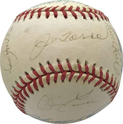 Ny Yankees Team Autographed Baseball - 2000 NY Yankees Team Signed Autographed OML Baseball Jeter Rivera Beckett BAS