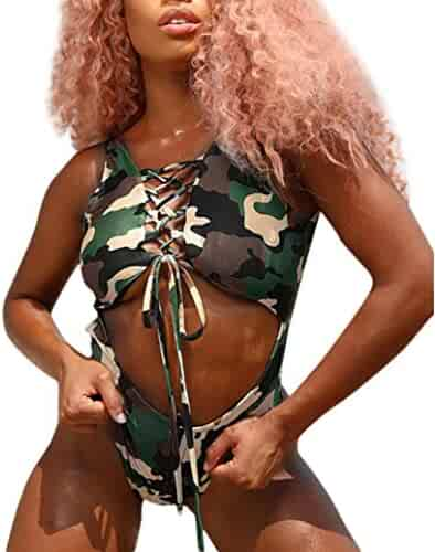 Dayupo Ms. Siamese Bikini, New Fashion Camouflage Print Swimwear Low Waist Beachwear Bathing Suit Two Piece Of Swimsuit