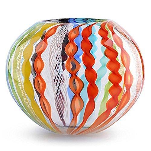 work Art Glass Bowl Vase Rainbow ()