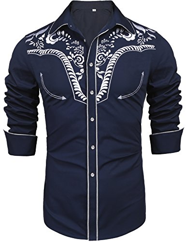 Daupanzees Men's Long Sleeve Embroidered Design Western Shirt Slim Fit Floral Print Casual Button Down Shirts(Navy Blue XL)