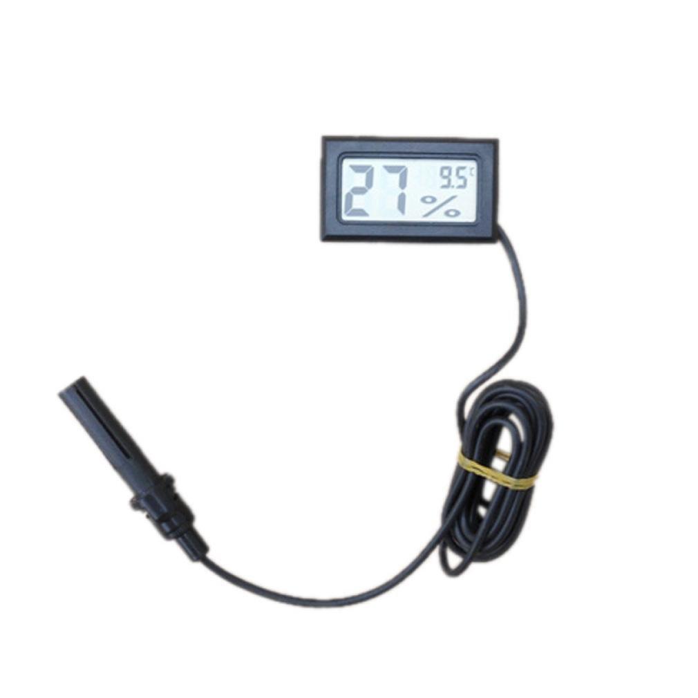 Negro STRIR LCD Digital sonda term/ómetro higr/ómetro integrados para reptil